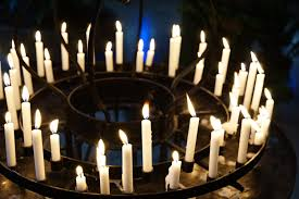 The candles in the church are set in a circle free image